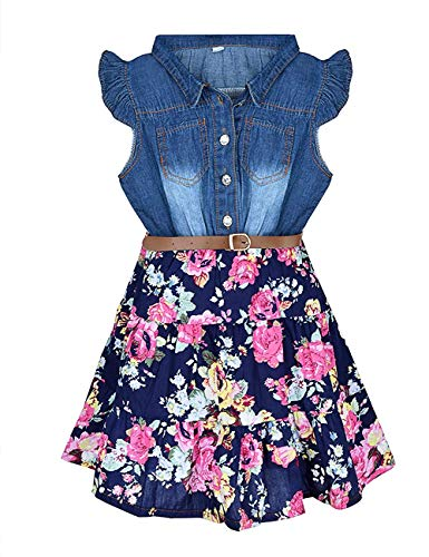 Girls Dresses Denim Floral Swing...