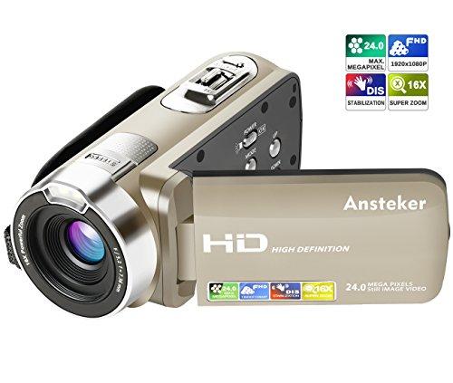"""Kamera Camcorder, Ansteker HD 1080P Videokamera 24MP 16X Digital-Zoom mit 2,7\"""" LCD und 270 Grad-Drehbarem Bildschirm (Golden)"""