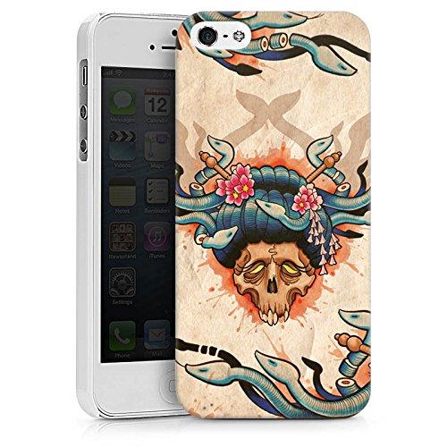 Apple iPhone X Silikon Hülle Case Schutzhülle Tattoo Totenkopf Schädel Hard Case weiß