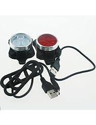 NSD USB rechargeable 3LED lumière blanche Cyclisme Vélo Lampe avant et 3LED Rouge Lampe arrière