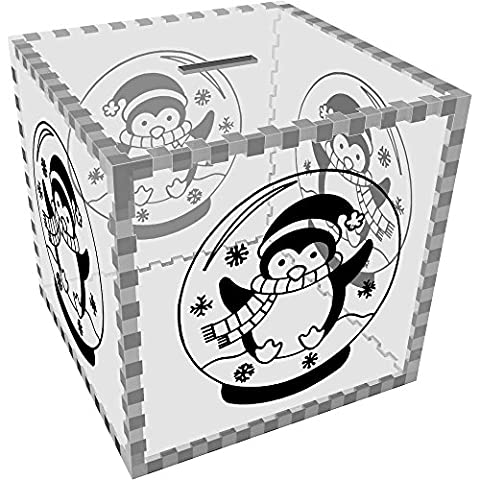 Large 'Penguin Snow Globe' Clear Money Box / Piggy Bank