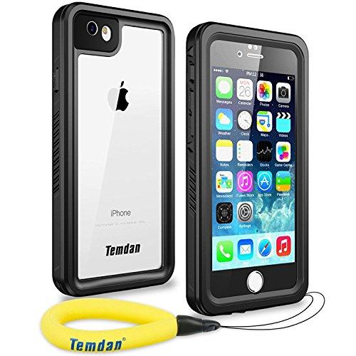 Temdan iPhone 6/ 6s Wasserdichte Hülle Outdoor Unterwasser Tauchende 360 Rundum Schutz Stoßfeste mit Eingebautem Displayschutz Wasserfeste Handyhülle für iPhone 6s/ 6 (4,7 Zoll) Schwarz