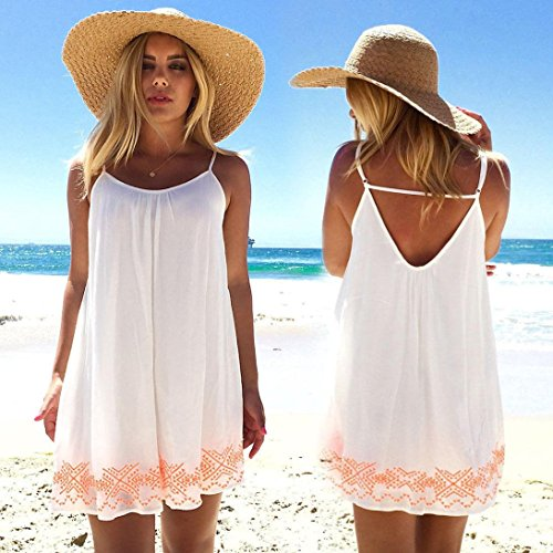 Robe, Tonsee Femmes Été backless Beach Party soirée de Boho Mini robe sundress Blanc