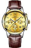 Herren Uhren Lederarmband Männer Chronograph Luxus Mode Wasserdicht Sport Datum Kalender Analog Quarz Uhr Geschäfts Beiläufig Kleid Armbanduhr mit Römische Ziffern Zifferblatt (Gold)