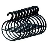 famy.Shop Schalhalter, Kleiderbügel f. Schal/Tücher/Krawatten Organizer, Kunststoff, schwarz, 10 Stück