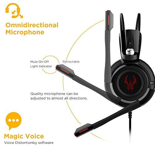 EasyAcc G1 Virtual 7.1 Surround-Sound Gaming Headset mit Vibrationsfunktion,USB PC,PS4 Gaming Kopfhörer - 6