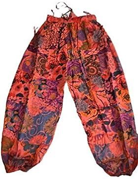 Indio harén pantalones de algodón–talla única–bonito diseño de flores y un montón de colores verano, étnico...
