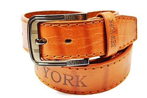 SCAMODA Struktur Herren-Gürtel mit New-York Aufdruck und Ziernaht im angesagten Vintage-Look, Jeans-Gürtel, kürzbar, Breite ca. 4 cm (120) (Herren-leder - York New)