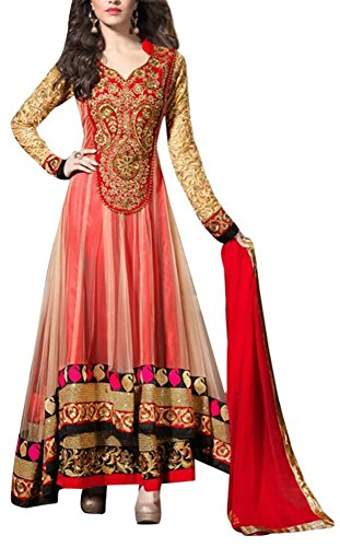 Chariot-Ethics-Womens-Georgette-Semi-Stitched-Salwar-Suit-Set-Shradhha-Red