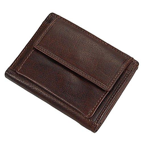 Branco kleine Geldbörse Leder Gelbeutel für Damen oder Herren GoBago (Schwarz) Braun
