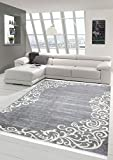 Merinos Teppich Floral Designerteppich Wohnzimmerteppich waschbar in Grau Creme Größe 160x230 cm