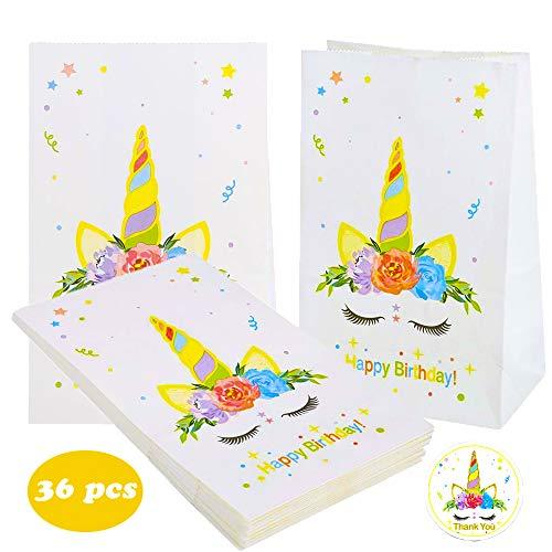 KAISHANE Unicornio Bolsos de fiesta Papel Bolsa de regalo 36 piezas Bolsa de Kraft para ir de compras Boda Celebraciones Caramelo