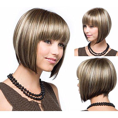 Kurze Haare glattes Haar | Halloween Kostüm Party und Alltagskleidung | Echt Promi Perücke Mode kurze Haare , 0