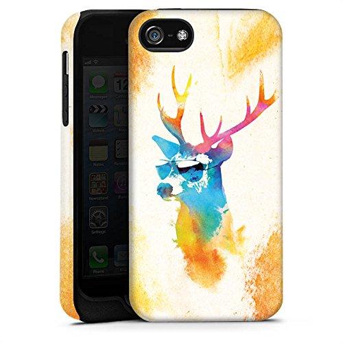 Apple iPhone 5s Housse Étui Protection Coque Hipster Cerf Lunettes de soleil Cas Tough terne