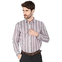 Big Tree High Quality Fabric Cotton Stripe Shirt (Size Large) (Color-Purple)