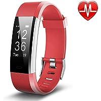 Bracelet Sport Connectée avec GPS,Macrourt Montre Connectée Sport Fitness Tracker d'Activité Etanche IP67 avec Cardiofréquencemètres, Podomètre, Distance, Calorie, Notification Appel & SMS pour IOS Android (Rouge)