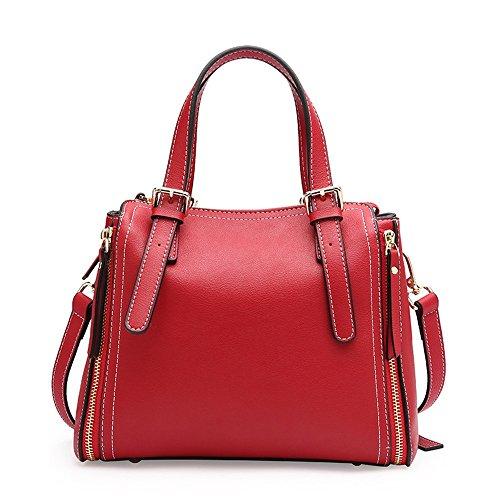 Lady Bag Charme (Easy Go Shopping Fashian Portable Locomotive Schulter Messenger Bag Leder Casual Ladies Bag Einfache atmosphärischen Stil (Farbe : Rot))