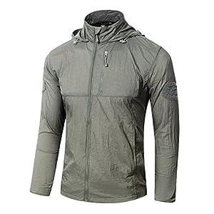 TACVASEN Men's Lightweight Waterproof UV Protection Packable Jacket with Hood from TACVASEN-EU