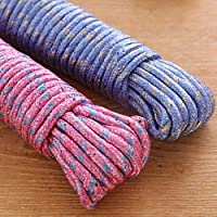 Sakoraware Cloth Line For Drying clothes, Nylon Braided Cotton Rope, 20 Mtr, Pack of 2, Assorted color