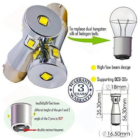 Wiseshine bay15d 1157 p21 5w led ampoule DC9-30v 3 ans d'assurance de la qualité (paquet de 2) Poutre haute/basse bay15d 9 led HP vert