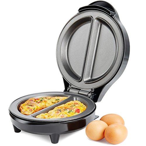 Andrew James Omelette Maker | Elektrisch mit Antihaftbeschichtung für 2 Einzelne Portionen | Geeignet auch für Rühreier oder Spiegeleier | Anti-Rutsch Füße und Cool- Touch Griff | Edelstahl | 700W