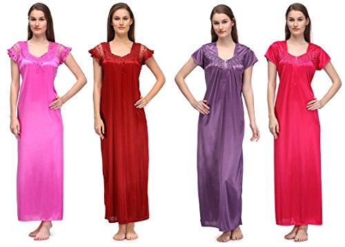 Oleva Satin Multicolor Nightwear Pack Of 4 OSNWC-4
