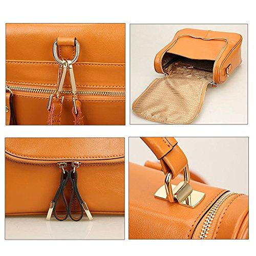 S-ZONE donne della signora Girls Retro Trio Piccolo Genuine Leather Backpack Satchel Crossbody borsa giallo