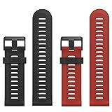 MoKo Garmin Fenix 3 Bracelet, Bracelet de Remplacement Flexible en silicone avec des outils pour Garmin Fenix 3 / Fenix 3 HR / Fenix 5X (pas Compatible de Fenix 5 )Smart Watch, Noir et Cramoisi