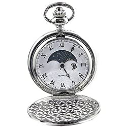 Personalised Silver Plated Sun and Moon Pocket Watch (Engraved Free)