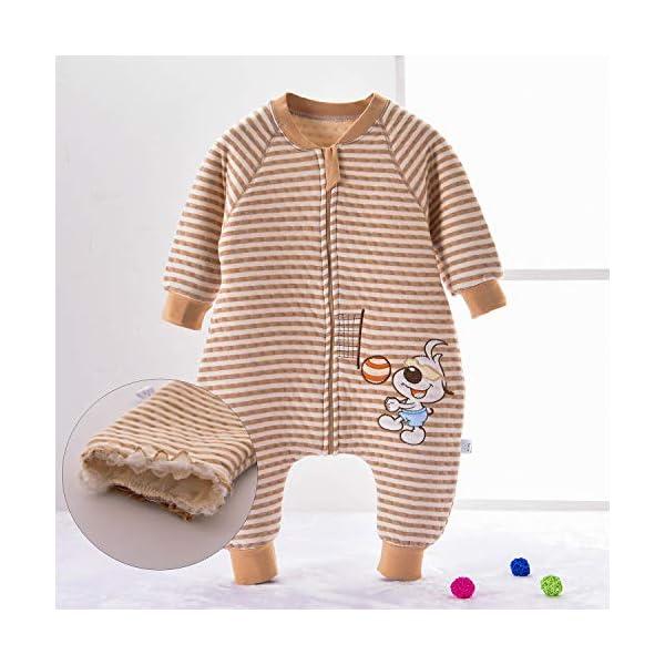 Saco de Dormir para bebé con Patas Saco de Dormir de Invierno de Manga Larga con Forro cálido y pies, Pijama de Mono… 2