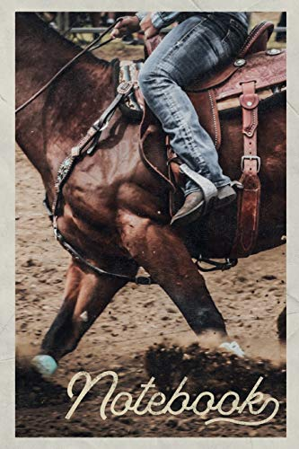 Notebook: Bronc riding Rodeo Events Professional Composition Book Journal Diary for Men, Women, Teen & Kids Vintage Retro Design for Bucking Horse and Barrel racing fans -