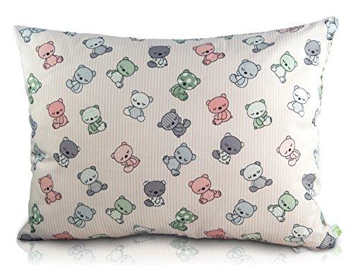 La Petite Unique |35 x 25 cm oreiller pour enfants | décoration adaptée aux enfants | 100% non-toxique | oreiller lavable et certifié Ökotex pour bébés | Nounours rose