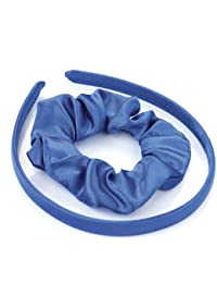 Royal Blue Satin Feel Fabric Covered Alice Band and Scrunchie Bobble Hair Band Set