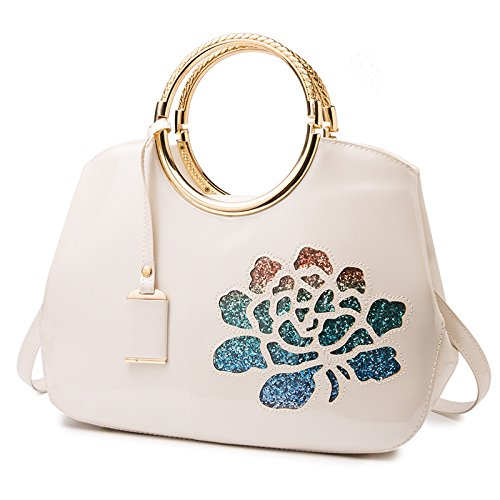 Pipulade Stylish painted leather tote girl off-shell packages party packages, White (Off-white Leder-tote)