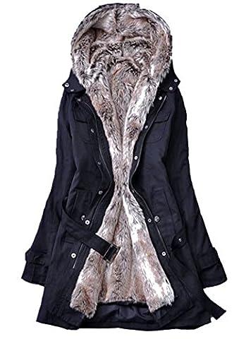 2017 Femme Veste à Capuche Hiver Manteau Blouson Chaud Parka Veston Militaire Hoodie Long Coton Polaire Grand Taille avec Ceinture Fourrure Amovible Outwear Noir 34