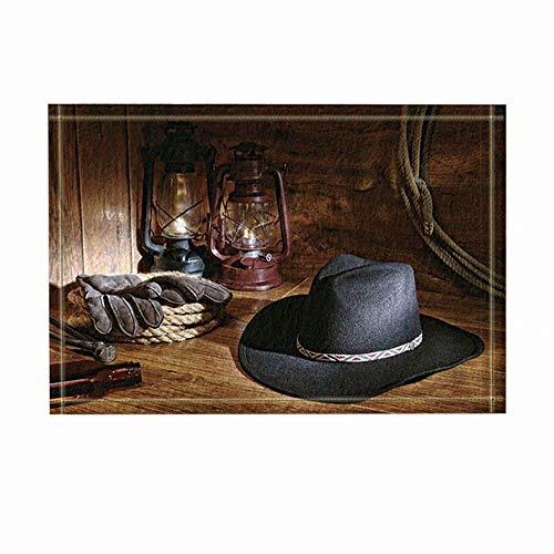 FEIYANG Art Deco Cowboy-Hut-Kerosinlampen-Handschuhe Bad Teppich Rutschfeste tür Matte Boden Eingang außen innen tür Matte Kinder Bad Matte 50x80cm Bad-Accessoires