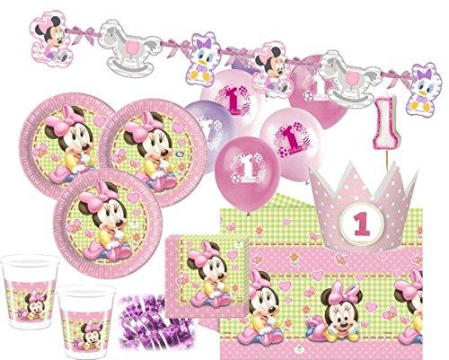 Minnie zum Ersten Geburtstag Party Deko Set 16 Personen 1. Geburtstag (Minnie Maus 1 Geburtstag Party)