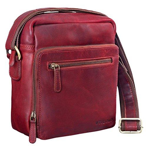 STILORD \'Nathan\' Umhängetasche Herren Leder klein braun Vintage Herrentasche 10,1 Zoll Tablettasche für iPad echtes Leder, Farbe:Rosso