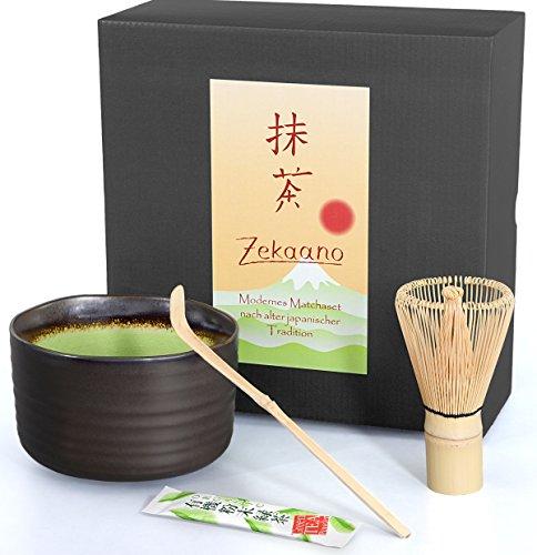Matcha-Set 3-teilig, anthrazit/grün, bestehend aus Matcha-schale, Matcha-löffel und Matcha-besen (Bambus) in Geschenkbox. Original Aricola®