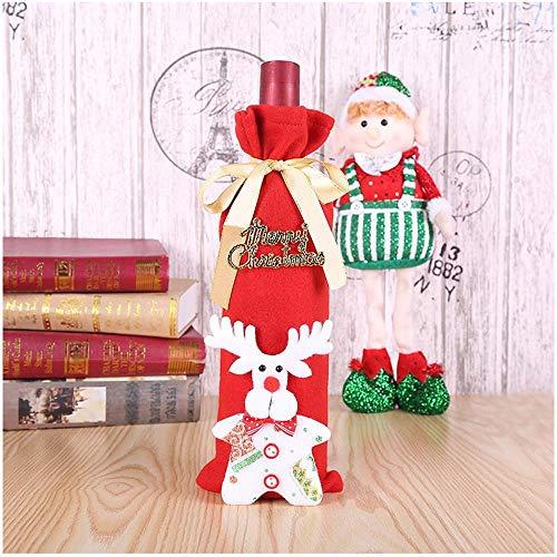 (SPFAZJ Weihnachten Tischdekoration Weihnachten ziehen Flanell Wein Set Wein Flasche Tasche Weihnachtstisch Greis Rotwein Christus gesetzt Mas-Lieferungen)