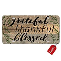 EnnE Personalized Metal License Plate Cover Grateful, Thankful, Blessed For Car 4 Holes Car Tag 12 inch X 6 inch