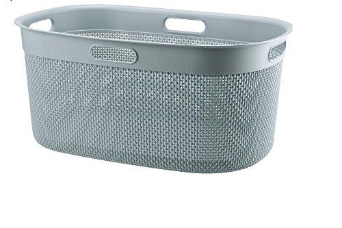 FILO Wäschebox 45L, Plastik Wäschekorb, Wäschesammler aus Kunststoff, Wäschebox 39x27x59cm, Wäschetonne (Gray)