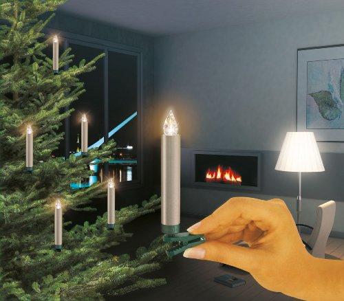 Krinner 74245 LUMIX DELUXE - Set básico de iluminación para el árbol con 10 velas LED inalámbricas y mando infrarrojo, color champán y luz blanco cálido (pilas incluidas)