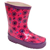 New Girls Pink Purple Flower Wellies Kids Rubber Wellington Snow Rain Boots 4-9