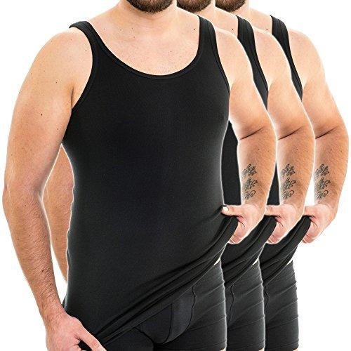 HERMKO 3007 3er Pack extralanges Herren Unterhemd (+10 cm) Tank Top aus 100% Baumwolle, Farbe:schwarz, Größe:D 11 = EU 5XL