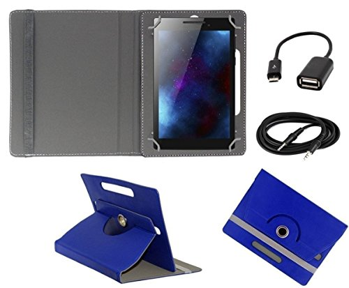 ECellStreet TM PU Leather Rotating 360° Flip Case Cover With Tablet Stand For Digiflip Pro ET701Tablet - Dark Blue + Free Aux Cable + Free OTG Cable  available at amazon for Rs.234