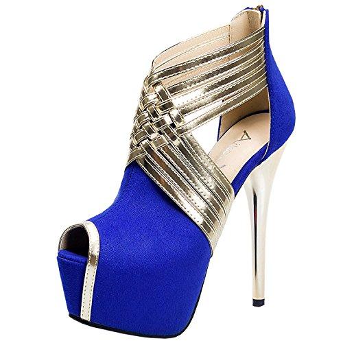 Oasap Femme Chaussure A Talons Hauts Bout Ouvert Talons Aiguilles Zippé Plate-forme Royal Bleu