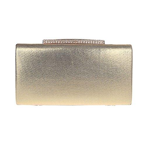 KAXIDY Luxus Damentasche Clutch Handtasche Abendtasche Satin Brauttasche mit Strass Gold