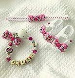 September Minnie Neugeborenen | Schnullerkette Tür mit anpassbaren Namen | Häkeln Haarband | 0/12 Monate Schuhe mit Bogen | ilnodocreativo