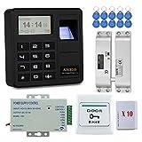 YAVIS Kit Complet biométrique Système de contrôle d'accès d'empreinte Digitale RFID 125KHz avec Serrure électronique DC12V, Alimentation 3A, Bouton de Sortie, Cartes-clés ID 20pcs